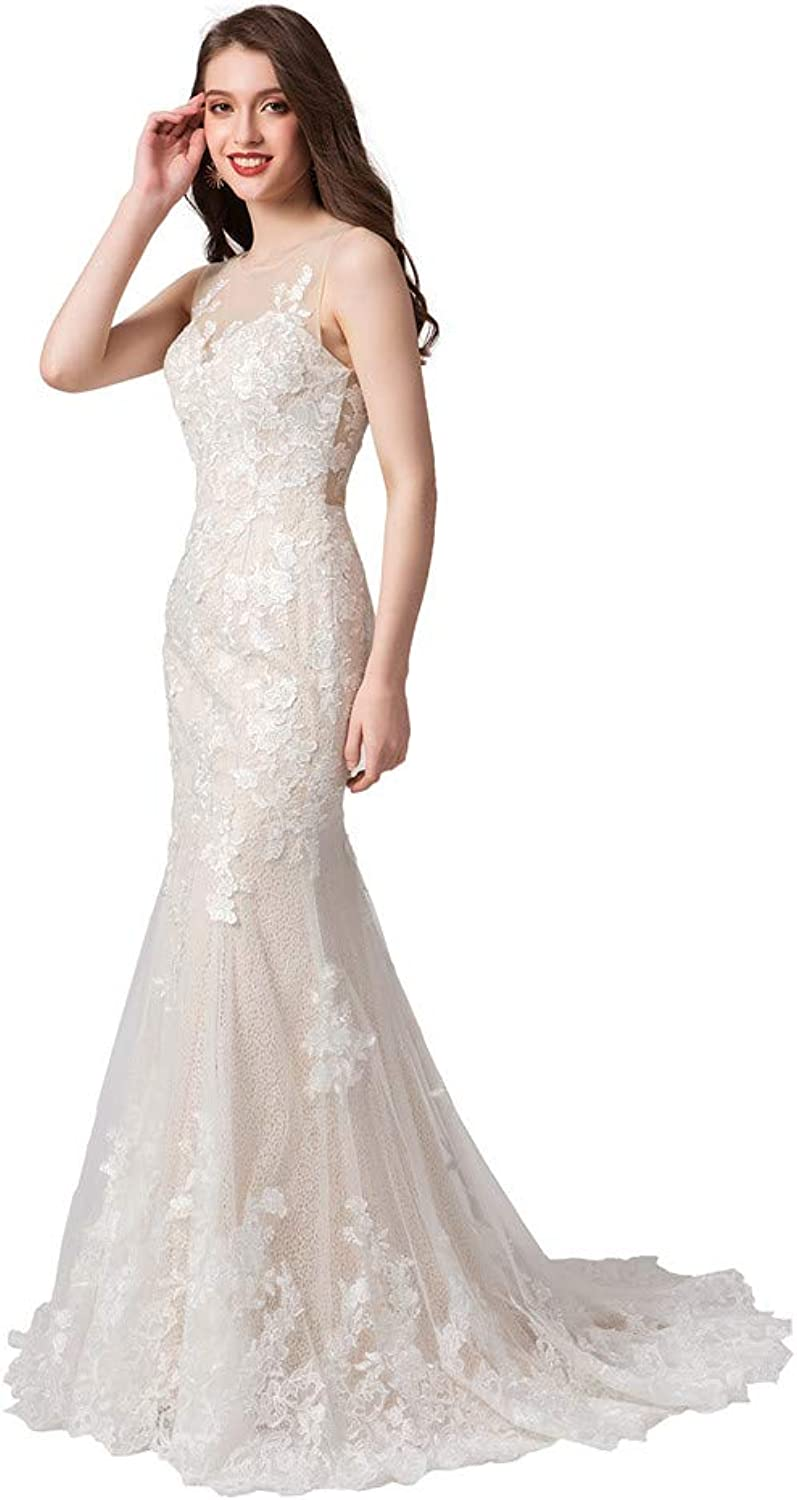 Datangep Women's Lace Wedding Dresses 2019 New Trumpet Mermaid Dress for Bridal Sexy Back