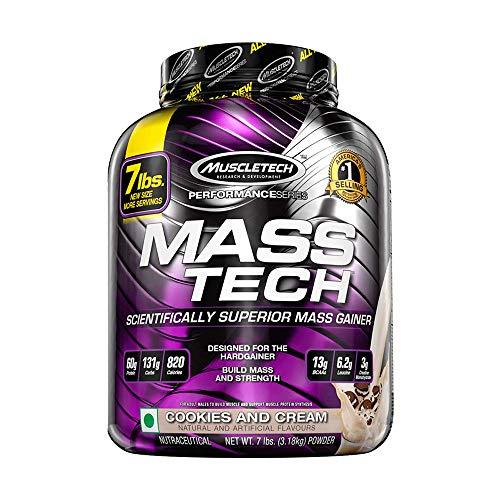 MuscleTech Mass Tech, Gewichtzunahmen Shake, Wissenschaftlich gegtestete Weight Gainer Formel, Cookies 6 Cream, 3,18 kg