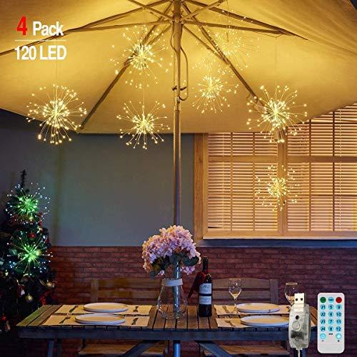 Feuerwerk Lichterketten für außen und innen,4 Stück wasserdichte led glühwürmchen lichterkettemit 4*120 LED Kupferdraht als eine ideale Dekoration für Outdoor, Balkon, Weihnachtsbaum usw... (Warmweiß)