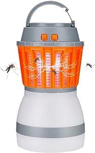 Simfonio Bug Zapper Mosquito Repellent - Insect Repellent Mosquito Zapper - USB Rechargeable Camping Lantern & Electric Mosquito Killer Lamp 2-in-1 for Outdoor & Indoor Camping & Emergencies (Orange)