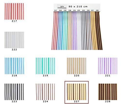 Bai Hui Pin) (Cod. 227) Rideau de porte extérieur, modèle Himalaya, 41 bandes, couleur : marron beige, matériaux : plastique et aluminium, Taille : 90 x 210 cm
