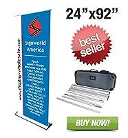 "Signworld 24"" HD Retractable Roll UpバナースタンドTrade Show表示"