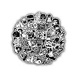 JL5588 Wandaufkleber 50 Stück Schwarzweiss-Random Cartoon PVC Spielzeug kühle Aufkleber for Kinder Kinder Gepäck Notebook Laptop-Aufkleber Bomb Car-Styling