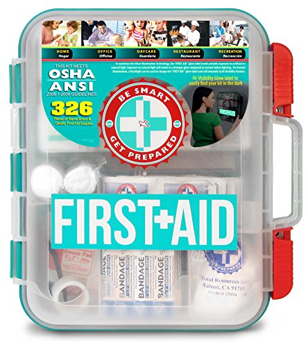 First Aid Kit Hard Teal Case 326Piece Exceeds OSHA