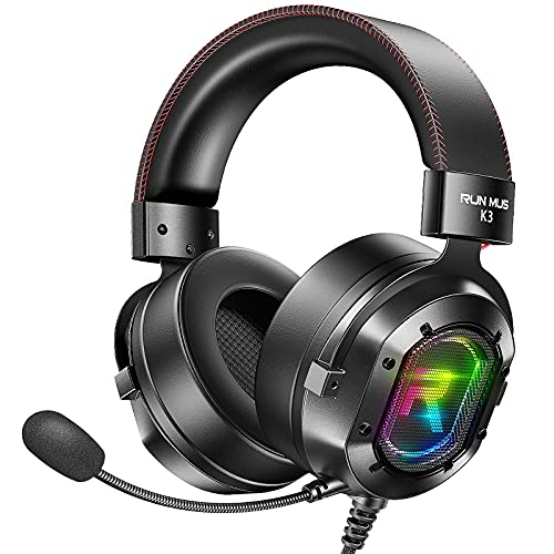 RUNMUS Gaming Headset PS4 Headset Xbox One Headset with 7.1 Surround Sound, Noise Canceling Mic & LED Light, Compatible with Xbox One, PS3, PS4, PS5, PC, Sega Game Gear, GameCube