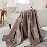 Joy Mangano Throw Blanket Cotton & Cashmere 50' x 70' Reversible Ultra Soft Luxury Better Blanket Plaid & Heathered (Stone Taupe)
