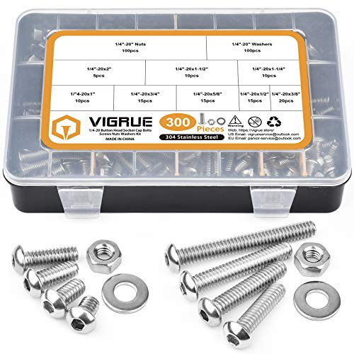 VIGRUE 300pcs 304 Stainless Steel 1/4-20 UNC Hex Button Head Cap Screw Bolts Flat Washers Nuts Assortment Kit Machine Screws Set, 8 Sizes (Length from 3/8