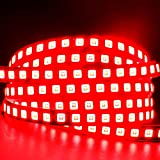 LED Light Strip, 16.4ft 600 Units SMD 5054 LEDs(5050 Upgraded), 16000LM Flexible 12V DC Non-Waterproof Light Strips, LED Ribbon, DIY Christmas Home Kitchen Indoor Party Decoration (Red)