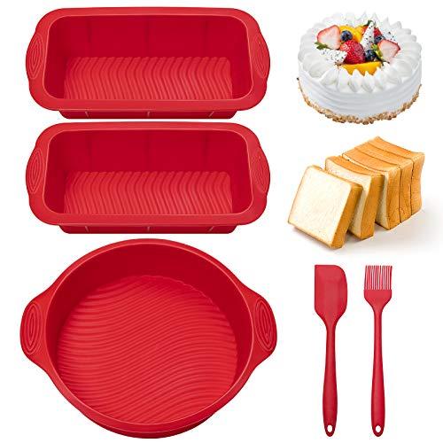 HomeMall Silikon Backformen, 5 professionelle Antihaft-Silikon Backformen Set inklusive Kuchenform Brot/Toastform Ölbürste Backspatel, für DIY Toast, Kuchen, Brot, Kuchen