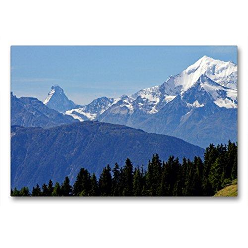 Premium Textil-Leinwand 90 x 60 cm Quer-Format Blick zum Matterhorn   Wandbild, HD-Bild auf Keilrahmen, Fertigbild auf hochwertigem Vlies, Leinwanddruck von Ansgar Meise