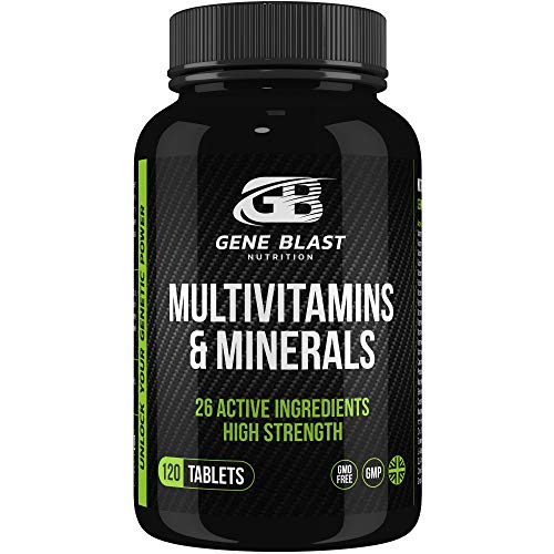 Gene Blast Multivitamins and Minerals w/Turmeric, Glutamine, Choline, Citrus Bioflavonoids & Grape Seed Extract for Active Health Vitality & Wellbeing 120ct