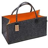 G'FELT Filztasche Premium – als hochwertige Einkaufstasche, schicke Freizeit-Tasche oder Badetasche, Zeitungskorb, Filzkorb, Einkaufskorb, stabile Kaminholztasche - zweifarbig grau und orange