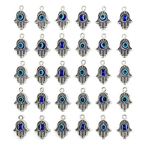 Abalorios de plata envejecida con diseño de mano de Fátima y ojo malvado - JIALEEY Hamsa - Abalorios de marco para joyas y collares