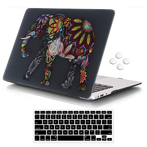 iCasso MacBook Air 13 Inch Case Durable Rubber Coated Plastic Cover for MacBook Air 13 Inch Model A1369/A1466 with Keyboard Cover - Elephant