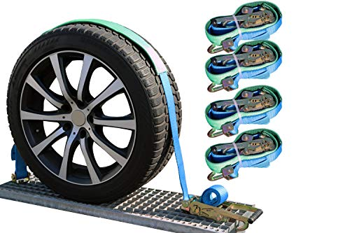 NTG 4 x 5000kg 50 mm Spanngurte Autotransport Reifengurt Radsicherung Zurrgurte Gurt