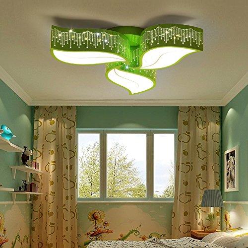 SHIEM Garçon Fille Chambre Lumières LED Économie d'énergie Plafonnier Salon Salle à Manger Protection des Yeux Lumières Chaleur Et Romantique Lampe pour Enfants Feuilles Fresh Lighting (40CM, 50CM, 60CM) 6500K , green forest 3 headlights