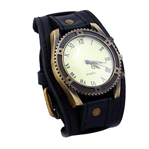 Homeofying Herren-Armbanduhr, Vintage-Stil, römische Ziffern, Kunstleder, Quarzuhr