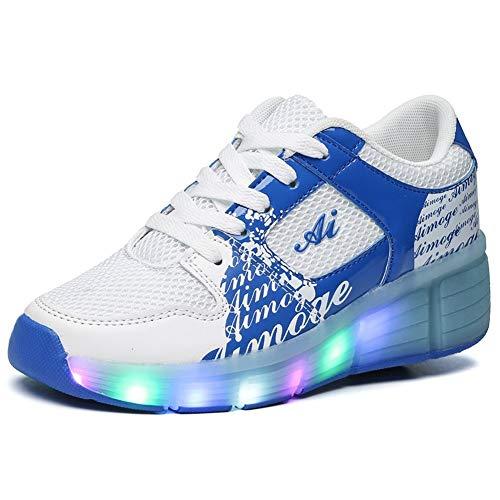 Good-time Kinder Junge Mädchen Led Schuhe Sneaker Mit Rollen 7 Farbe Farbwechsel Wheels Skate Schuhe(Weiß Blau,30 EU)
