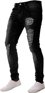 Xmiral Jeans Uomo Stretch Maniche Lunghe Slim Fit con Cerniera Pantaloni sfilacciati Skinny in difficoltà