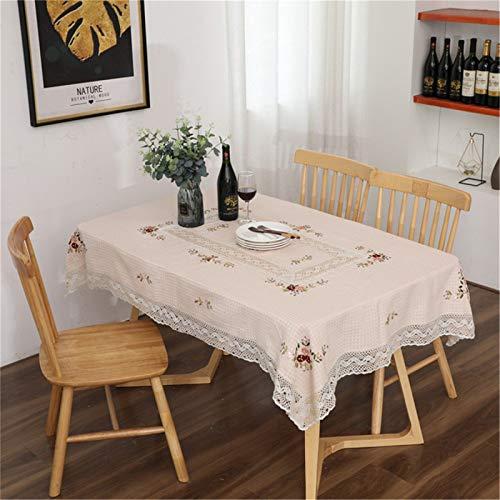Nappe en Coton À Carreaux, Table Basse Brodée, Serviette Anti-Poussière, Nappe Rectangulaire