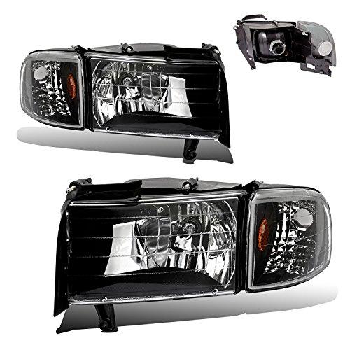 Headlamps Headlights Crystal Black with Corner Lamp for 94-02 Ram Driver Passenger Pair Set