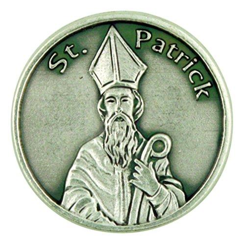 Patron of Ireland Saint St Patrick Silver Tone Pocket Token Irish Prayer