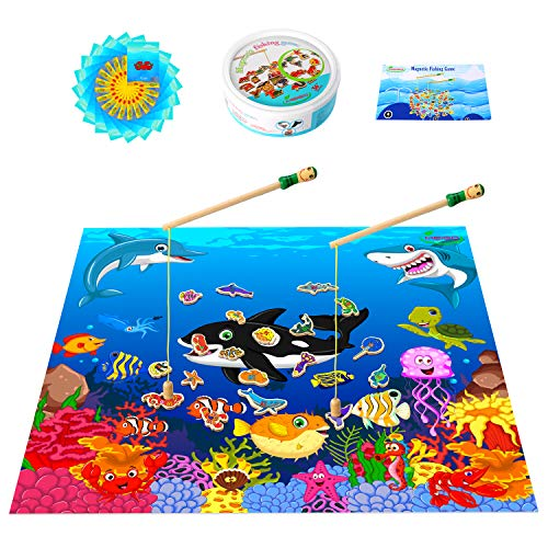 MEIGO Magnetic Wooden Fishing Game - Toddler Alphabet Number Preschool Learning Board Games w/ Play Mat Educational Toy Gifts for Kids 3 4 5 Year Old Boys Girls (46pcs)