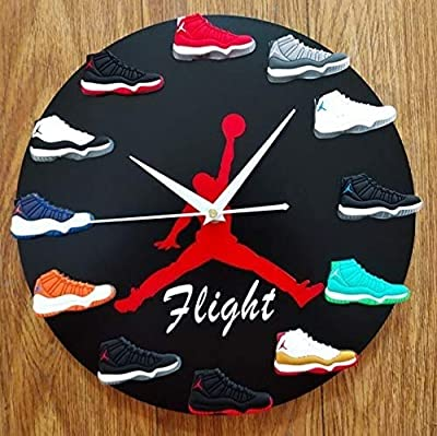 Sneakers Wall Clock?Decorative Sneakerhead Style Air Jordan Sneaker Clocks for Kitchen Living Room Decor,A for Sports Fans Black