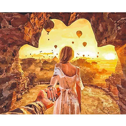 Hete lucht Ballon in De Zonsondergang Digitale Olie Schilderen Speelgoed voor Volwassenen Beginner DIY Art Huisdecoratie Gift voor Nieuwe Accommodatie Bruiloft Verjaardag