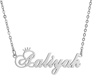 Personalized Name Crown Necklace,Customized Script Initial Women Girl Nameplate Charm Crown Necklace Stainless Steel Pendant Necklace Chain Jewelry Gift for Boy
