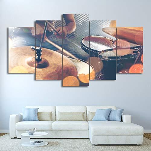 Zhuhuimin HD druk afbeelding schilderkunst muur modulaire poster 5 delen/stuk oude modieuze trommel moderne canvas woonkamer frame wooncultuur L-30x40 30x60 30x80cm Frame