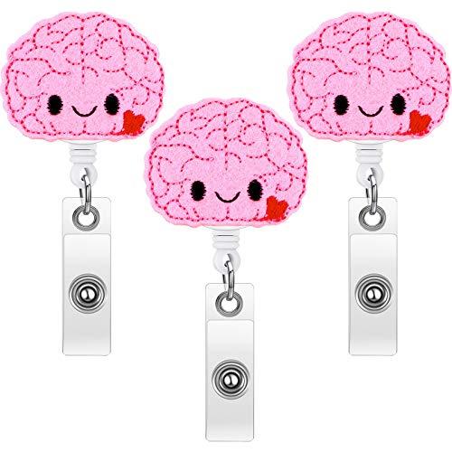 3 Pieces Brain Badge Reel Retractable Nurse Badge Holder Felt Nursing Name Badge Holder for Women Nurse