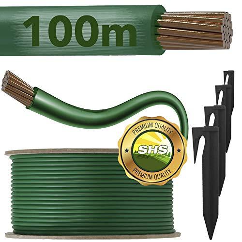 RASENFREUND 100m Begrenzungskabel + 300 Erdspieße für Mähroboter Rasenroboter Zubehör SET Begrenzungsdraht für Suchkabel - kompatibel mit GARDENA/BOSCH/HUSQVARNA/WORX/HONDA/ROBOMOW/iMow / Ø2,7mm