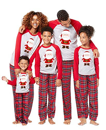 2Pcs Family Matching Christmas Santa Claus Outfits Long Sleeve T-Shirt Romper+Plaid Long Pants Pajamas (M, Mom-Red)