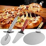 Servidor de pizza 3 en 1, cáscara de pizza + pala de pizza + cortador de pizza, rueda de pizza de acero inoxidable perfecto para hornear pizza/pan/pasteles/galletas caseras