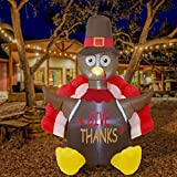 ATDAWN 6 Foot Thanksgiving Inflatable Turkey, Perfect Thanksgiving Autumn LED Lights Decorations, Thanksgiving Lighted Outdoor Indoor Yard Holiday Decorations