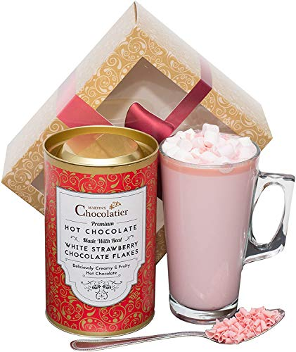 Martins Chocolatier Hot Chocolate Gift Set (Strawberry) | Drinking Chocolate Made with Belgian Chocolate Shavings | Includes Glass and Marshmallows