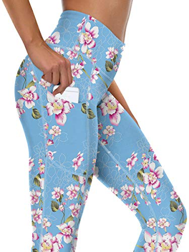 syoss Yoga Pants for Women with Pockets High Waisted Leggings with Pockets for Women Workout Leggings for Women L, Floral Bule