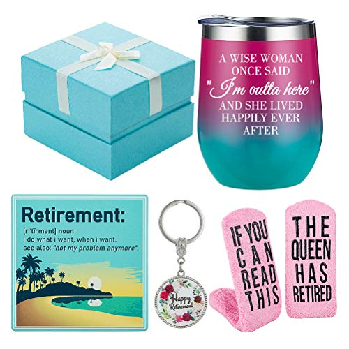 Retirement Gifts for Women 2021 - Funny Wine Gift Basket for Retiring...