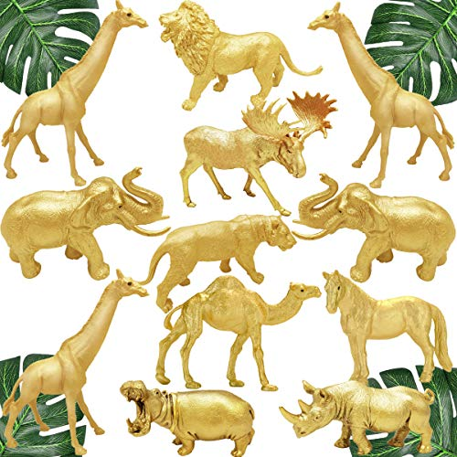 Metallic Gold Safari Animals Figurines Toys 12Pcs  Jungle Animal Figures  Wild Plastic Animals with Giraffe Lion Elephant for Baby Shower Decor  Wild Themed Birthday Wedding Party Favors