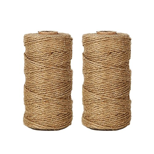 Tenn Well Natural Jute Twine, 656 Feet 2Ply Brown Twine String for Crafts, Gift Wrapping, Packing, Gardening and Wedding Decoration (2PCS X 328 Feet)