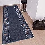 [page_title]-Tapiso Anti Rutsch Teppich Läufer rutschfest Brücke Meterware Modern Blau Dunkelgrau Braun Vierecke Design Flur Küche Wohnzimmer 100 x 300 cm
