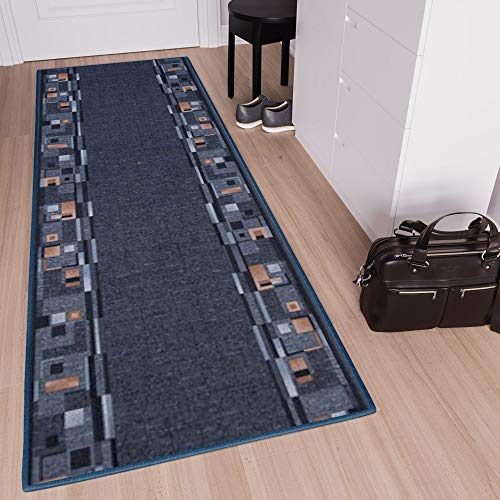TAPISO Anti Rutsch Teppich Läufer rutschfest Brücke Meterware Modern Blau Dunkelgrau Braun Vierecke Design Flur Küche Wohnzimmer 100 x 300 cm