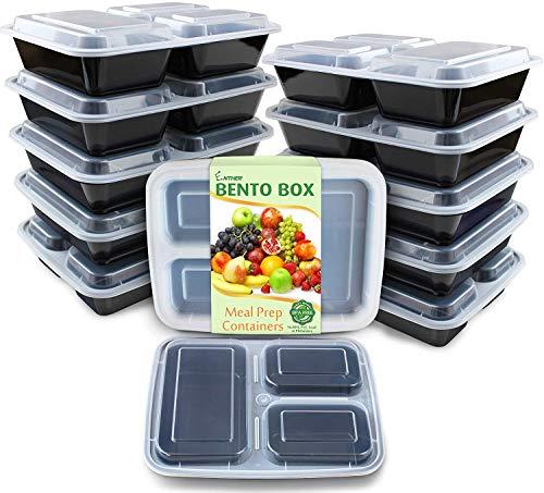 Recipientes de preparação de refeições Enther, 3 compartimentos, 12 Pack 3 Comparts, (36 oz), 1