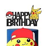 Pikachu Happy Birthday Cake Topper Pokemon Theme Baby Shower Kids Birthday Party Decorations for Boy and Girl