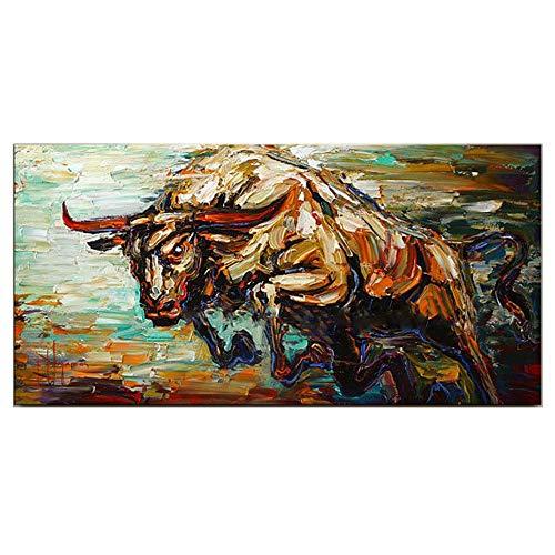 Schilderij Top Artiest Handgemaakte Hoge Kwaliteit Abstract Mes Schilderij Stier Olie Schilderij voor Wanddecoratie Jump Bull Foto Op Doek