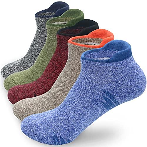 Mens Running Ankle Socks 5-Pack Athletic Socks w/ Cushion Low Cut Sports Socks