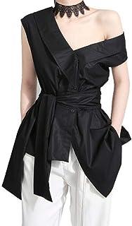 UUGYE Women One Shoulder Irregular Hem V Neck Shirts Blouse Tops