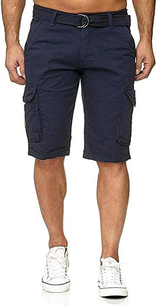 Hmlai Clearance Men Cargo Shorts with Pocket Big and Tall Relaxed Fit Ourdoor Solid Color Pleated Overalls Short Pant
