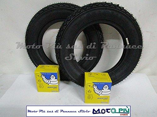 Paire de pneus Michelin S83 3.50-10 + paire de chambres à air pour Vespa PX LML